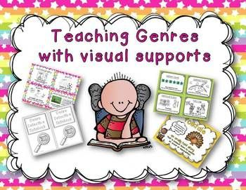 Teach genres in small group by using cue cards that have the a short description and a visual prompt. These cards allow you to briefly hit what genre or genres your group may be reading and since the cards are small and quite handy you can do it on a frequent basis which really enhances students understanding of genres.This pack includes:25 large genre posters with a definition (star version/solid background version) 28 small cue cards of the following genres (solid version/star…