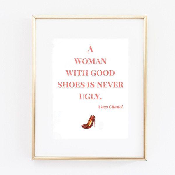 Coco Chanel Print quote printable art heels coco chanel digital print... (220 DOP) ❤ liked on Polyvore featuring shoes, pink shoes, chanel shoes, print shoes, chanel footwear and peach shoes