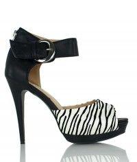 Shoes www.shoeenvy.com.au Serengeti - Women's black white zebra platform sandal high heels $149