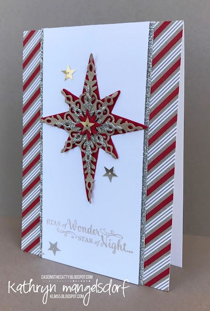 Stampin' Up! Star of Light, Starlight Thinlits Dies, Candy Cane Designer Series Paper, Christmas Card created by Kathryn Mangelsdorf