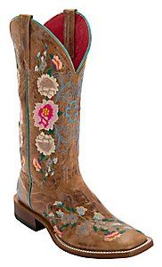 $209.09 - Anderson Bean® Macie Bean™ Womens Antiqued Honey Brown w/ Rose Garden Embroidery Square Toe Boots