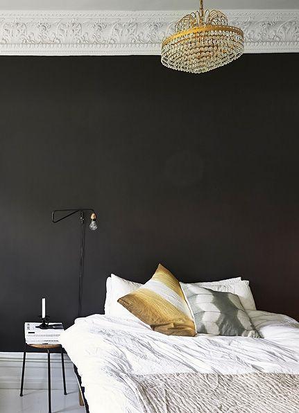 Black bedroom wall - via Coco Lapine Design