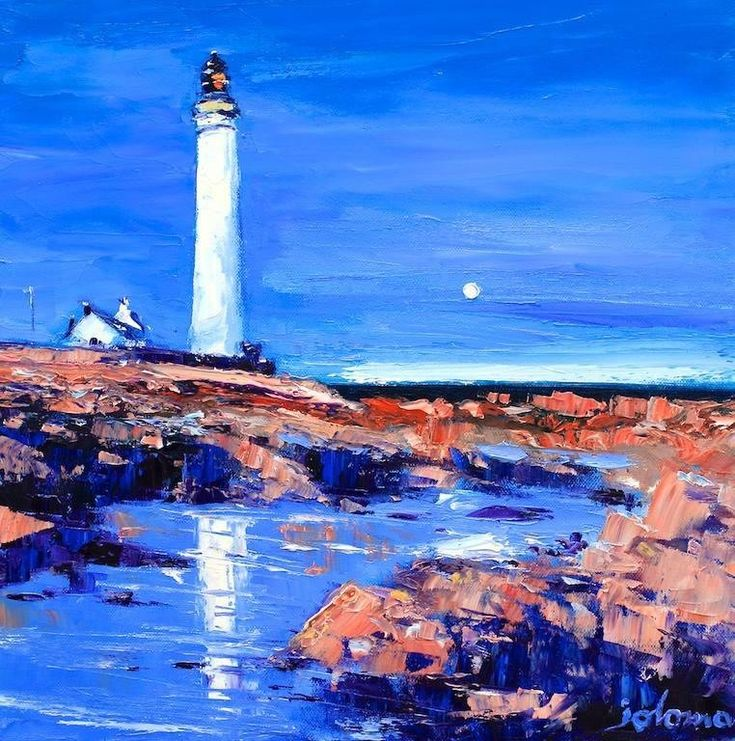 Evening Reflections, Scurdieness Light by Jolomo - John Lowrie Morrison