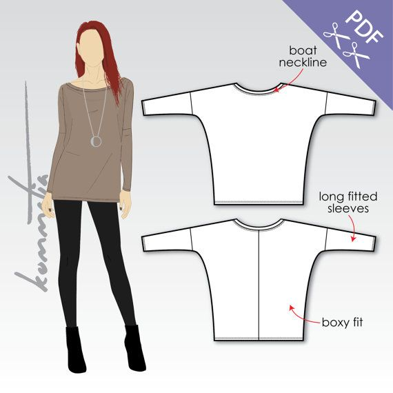 XS-XL Loose tunic with long sleeves PDF sewing di KommatiaPatterns