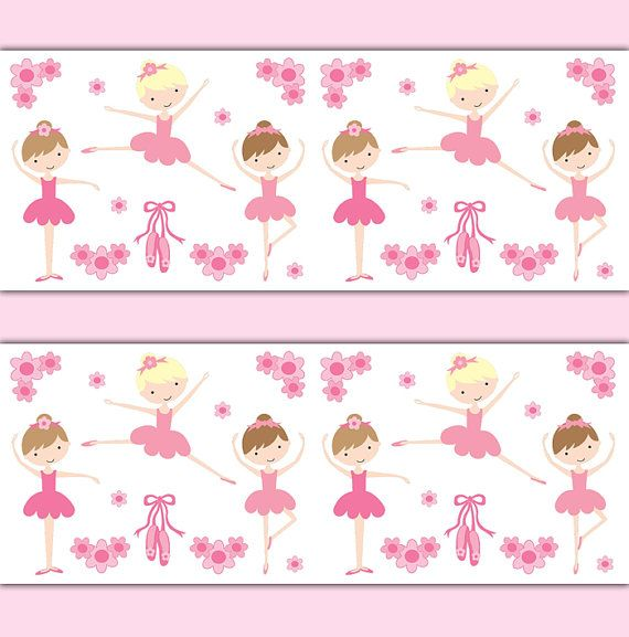 ballerina wallpaper border wall art decals girl pink