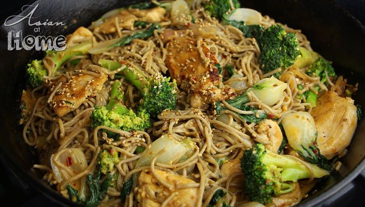 Soba Noodles with chicken and sauce
