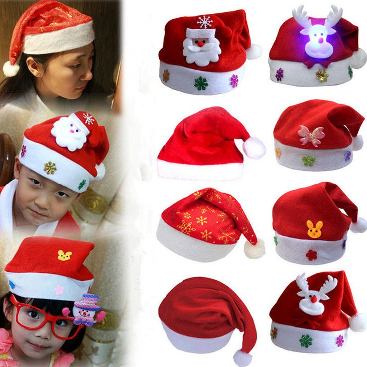 Hot Stylish Kids Adults Christmas Caps Santa Red Caps Holiday Fancy Dress Hats #Unbranded #Ball