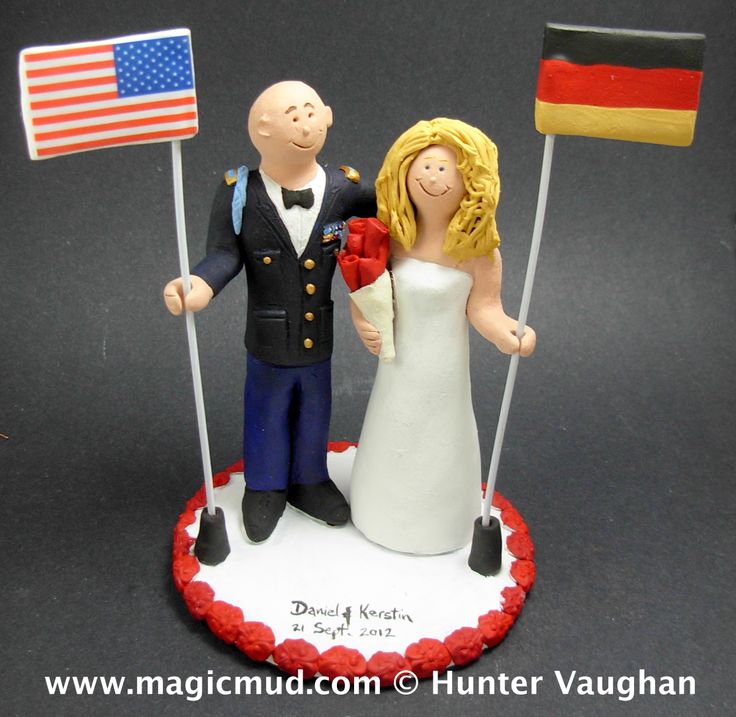 German Bride Marries American Soldier Groom Wedding Cake Topper http://www.magicmud.com   1 800 231 9814  magicmud@magicmud.com $235  https://twitter.com/caketoppers         https://www.facebook.com/PersonalizedWeddingCakeToppers   #german#germany#wedding #cake #toppers #custom #personalized #Groom #bride #anniversary #birthday#weddingcaketoppers#cake-toppers#figurine#gift#wedding-cake-toppers…