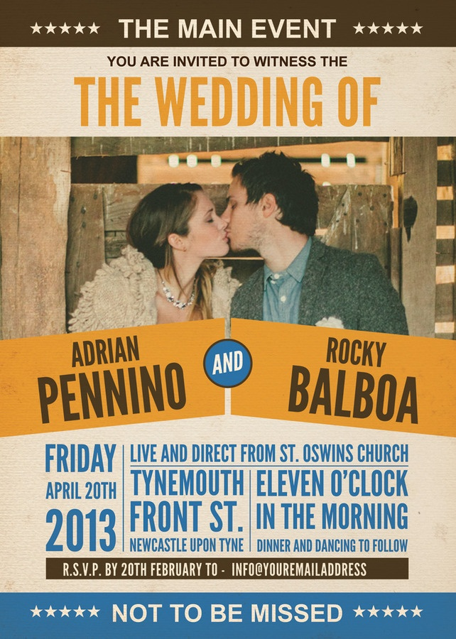 Boxing - Wrestling Poster Themed Vintage Retro Style Wedding ...