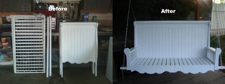 Porch Swing Repurposed From A Crib Painted Outdoor
