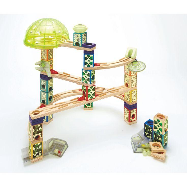 HAPE Quadrilla Kugelbahnen - Weltraum-Stadt #HAPE #Kugelbahn #Spielzeug #Kinderspielzeug #Weltraumstadt #Quadrilla #Glasmurmeln #Holzkugelbahn #Höhenabstufungen #ab6Jahren