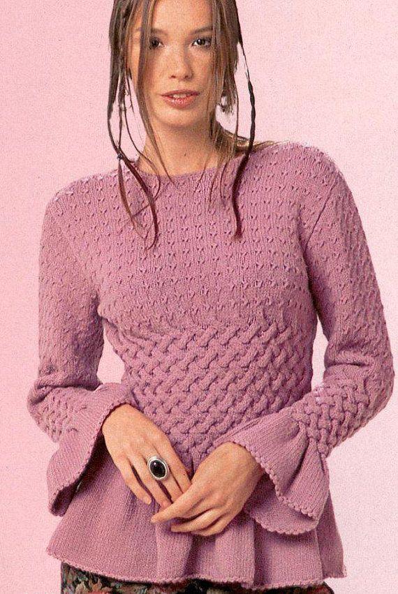 Hand knit peplum top, BANDofTAILORS, Etsy