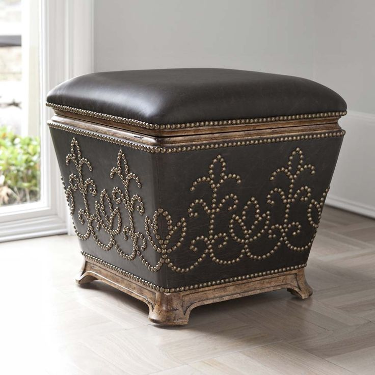 studded leather ottoman western ottomans leather wrapped ottoman with antique brass nail heads top