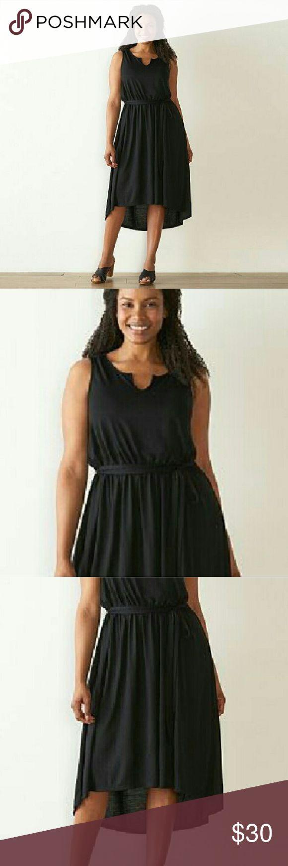 Plus Size Sonoma  Black High Low Dress Sonoma size 2X  Black Jersey Maxi . Has split neck detail, high low hemline  maxi  dress. Has  elastici waist & comes w/ tie belt. NWT    $30 Sonoma Dresses High Low