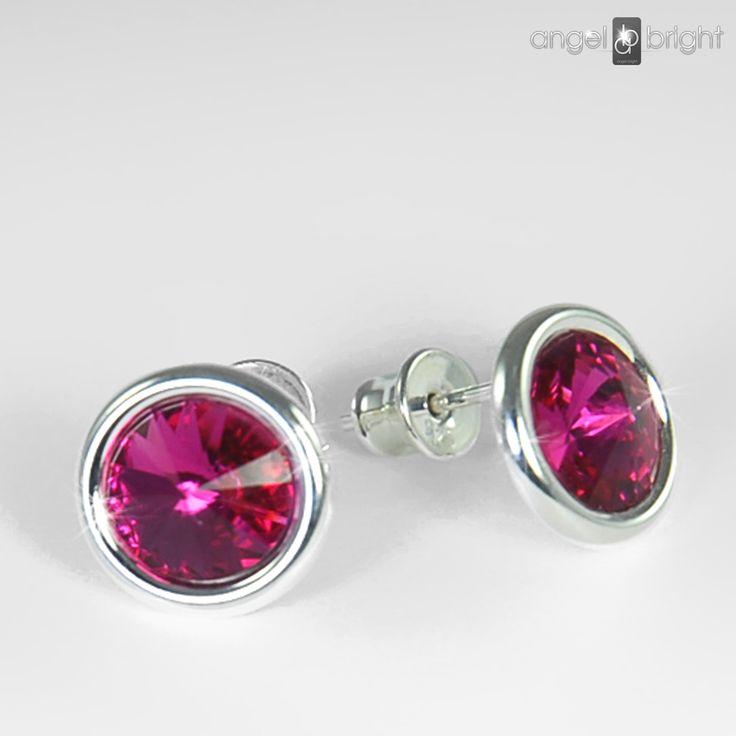 Kolczyki Swarovski Srebro sztyfty kryształki Fuksja, lekkie i wygodne, średnica 11mm, polecamy Angel Bright biżuteria artystyczna