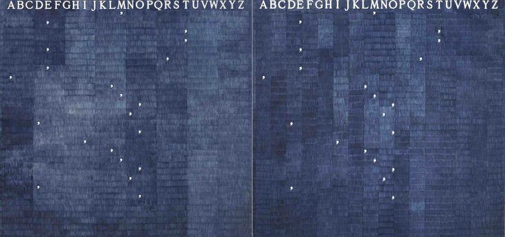 Alighiero Boetti, Mettere al mondo il mondo, 1972-73, stylo-bille bleu sur papier sur toile, 2 pièces, cm 159 x 328 / in 62,6 x 129.2.