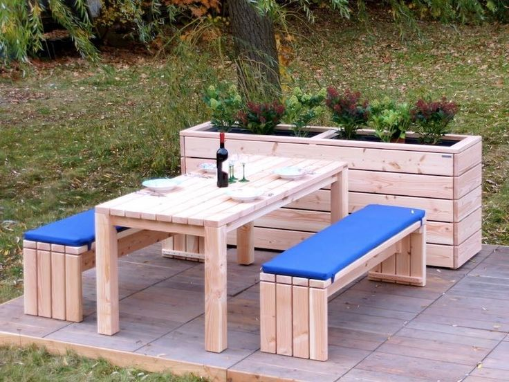 Gartenmöbel Set 3, wetterfestes Holz, Douglasie - www.holzweise.de