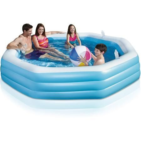 Swimming Pool Family Play Day Octagonal Inflatable Above Ground Blue - Inflatable & Kid Pools
