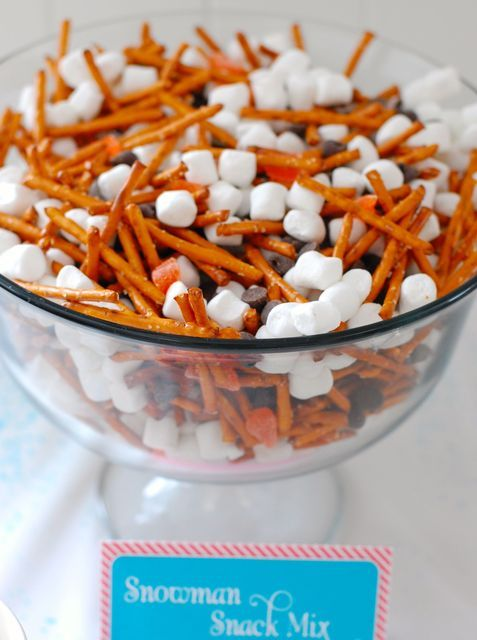 Snowman Snack Mix at a Winter Wonderland Party #snowman #snacks Corn candy noses, pretzel stick arms, marshmallow bodies, chocolate chip eyes and buttons