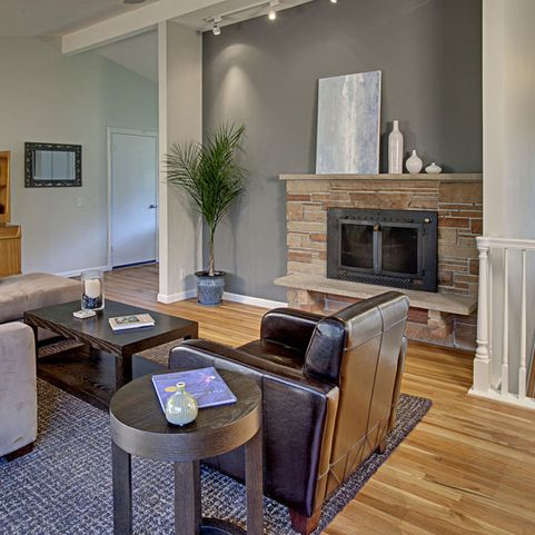 Oak Trim Grey Wall Design Ideas Pictures Remodel And Decor