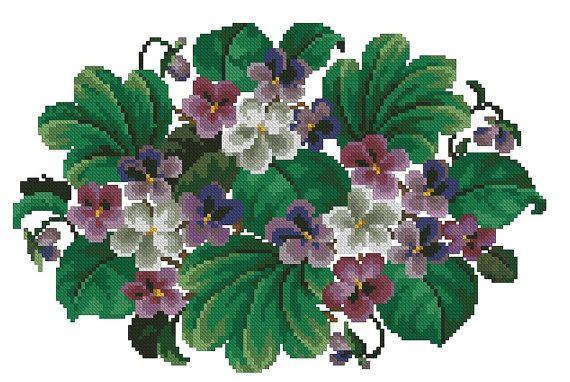 Small violets flowers antique digital cross stitch by Smilylana