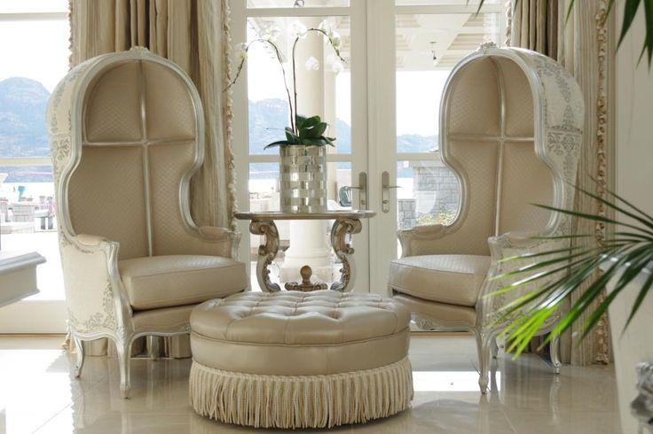 Bespoke hooded chairs in Venetian Silver, designed by #PaulLavoieDesigns.    #custom #bespoke #customfurniture #beautifulhomes #chair #chairlove #handcrafted #design #interiordesign #livingroom #lounge #trend