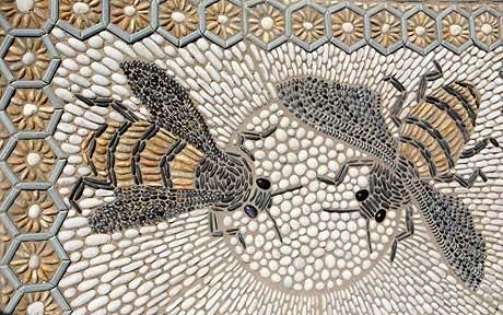 A pebbly mosaic for the bathroom floor - subtle yet striking (this one seen at the Hampton Court Flower Show)
