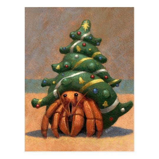 De Kerstkaart van de Krab van de kluizenaar Briefkaart