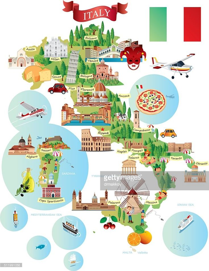 Vector Art : Cartoon map of ITALY
