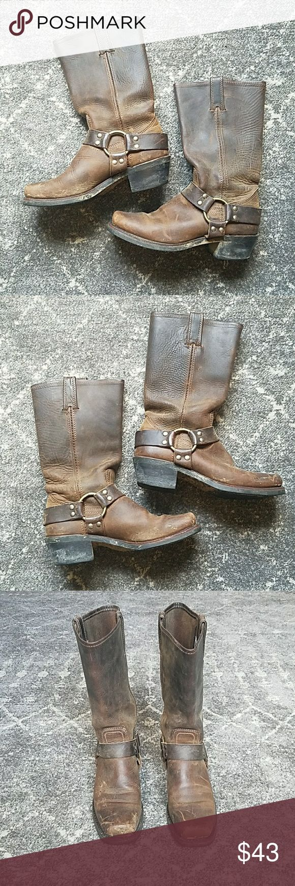 Frye Harness boot size 7 These boots have barely been worn, though once was on a very rainy day so there is a little residue from mud. I've washed them but didn't want to get too aggressive and damage the shoes. All these need is a little care and they will truly be good as new 💙 price reflects condition, please ask me anything! Frye Shoes