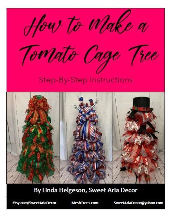 Tomato Cage:Christmas Decor 2021 Pinterest Tomato Cage Tree Deco Mesh Christmas Tree Instruction Guide Etsy In 2021 Mesh Christmas Tree Tomato Cage Christmas Tree Tomato Cages
