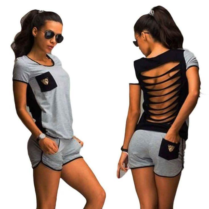 Lato Dorywczo Garnitur Sportwear T Shirt + Spodenki strój Dwuczęściowy Stroje Treningowe Niesamowite 12 Maja