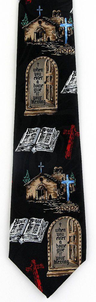 New Bless This House Mens Necktie Home Blessing Religious Christian Neck Tie #StevenHarris #NeckTie