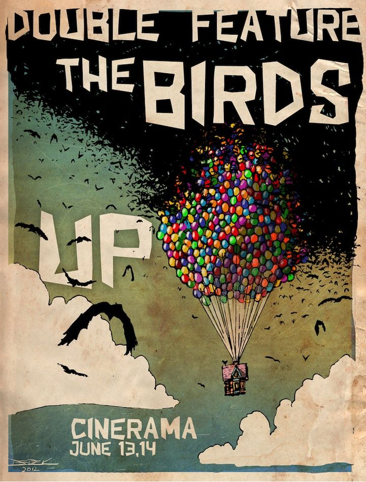 Awesome Movie Mash-Up: The Birds x Up: Awesome Movie, Movie Posters, Features Posters, Funny Illustrations, Derek Chatwood, Posters Design, Birdsup Posters, Double Features, Movie Mashup