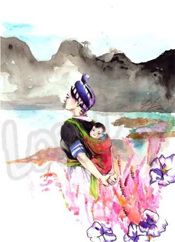 Hmong Art Painting Watercolor Mother Daughter by StudioLorLao
