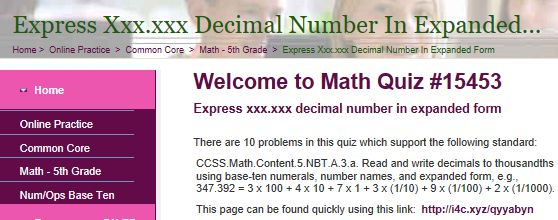 "This is an image from this resource on the Internet4Classrooms' ""Fifth Grade Interactive Math Skills - Decimals"" resource page:    Express xxx.xxx decimal number in expanded form.    Online quiz that is self checking."