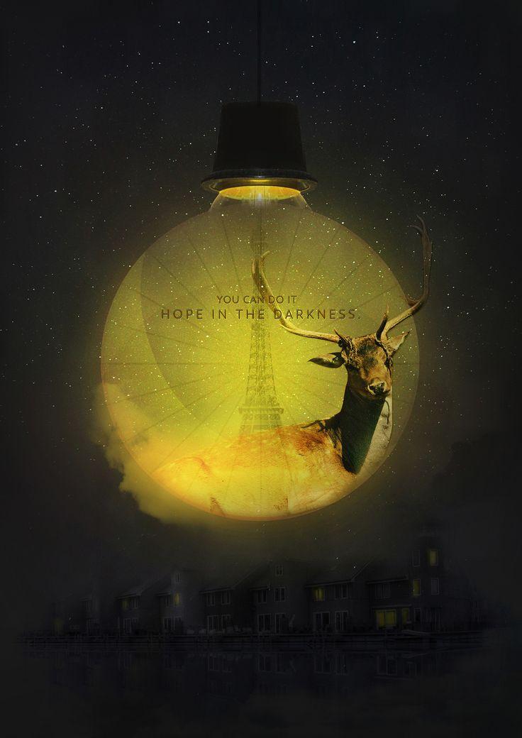 design by MiRee Kim Hope in the darkness Graphic poster 어둡지만 희망이 있다는 의미의 포스터로 밤하늘은 고난과 역경, 슬픔을 의미하고, 달은 이러한 어둠을 밝혀준다는 의미를 가지고 있습니다. 사슴은 희망을 상징하는 동물로 희망적인 메시지를 주고 싶었습니다.