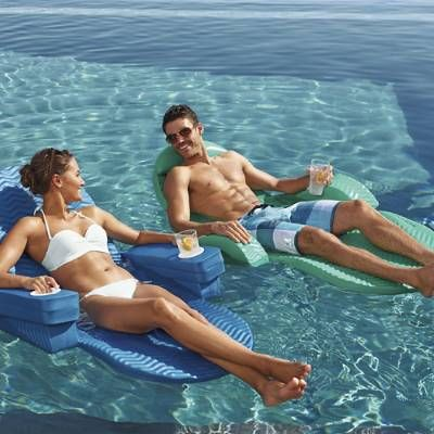 The Original Pool Chaise is the most comfortable, versatile floating chaise we could find. At the turn of a knob, it can be used as an upright chair, full-length unsinkable float, or multi-position recliner. Folds for easy storage and includes  one coordinating Kool Kan.Durable stability:Constructed of 2-thick layers of soft, ultra-buoyant, closed-cell foamThick, non-fading vinyl coating protects float against pool chemicals and rough playInternal rust-resistant steel frame for bolstered…