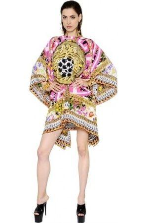 Robes imprimées femme - VERSACE CAFTAN EN CRÊPE DE CHINE DE SOIE IMPRIMÉ MÉDUSE