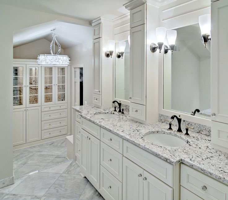 Kitchen White Ice Granite Bathroom Vanity With White Cabinet Big Nirror And Wall Lamps Enchanted to Opt White Ice Granite