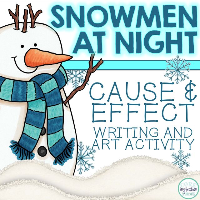 Practice cause and effect with this winter art and writing activity, Snowmen at Night.