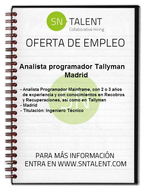 #Empleo Analista #Programador Tallyman en #Madrid