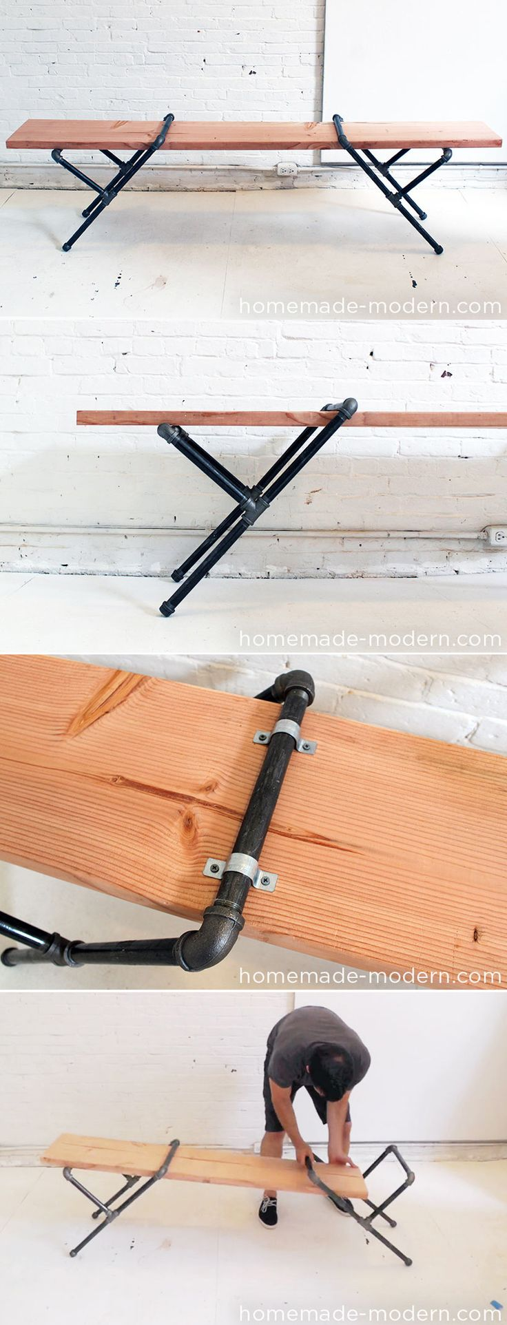 un banc à faire soi-même #DIYCheap Modern Decor Diy, Study Area, Modern Industrial Desks, Furniture Diy, Industrial Pipe Desk, Cheap Crafts, Diy Industrial Furniture, Pipe Diy Table, Pipe Benches