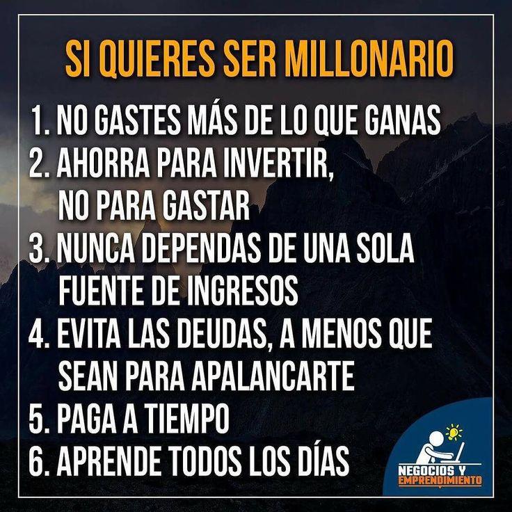 Excelentes consejos de @negociosyemprendimiento si  quieres ser millonario.