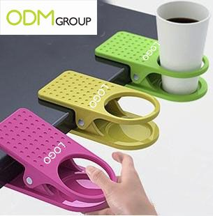 Creative Table Glass Clip / Folder-Type Cup Holder - good idea for more desk space (personal & in meetings)