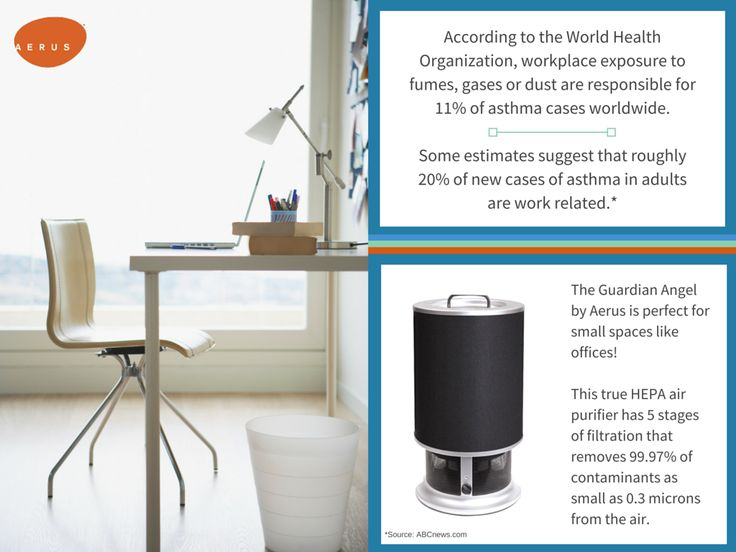 AERUS | 20% of new cases of asthma in adults are work related. An Aerus Guardian Angel can help clear your workspace of contaminants and allergens!