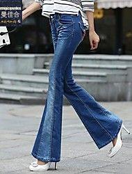 Dambyxor  ( Bomull/Denim ) Bootcut/Jeans  -  Mellan  -  Mikro-elastiskt