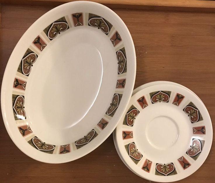 Vtg Noritake Tangiers Pattern Midcentury Bowl Saucers Bread Plates Five Pieces  | eBay