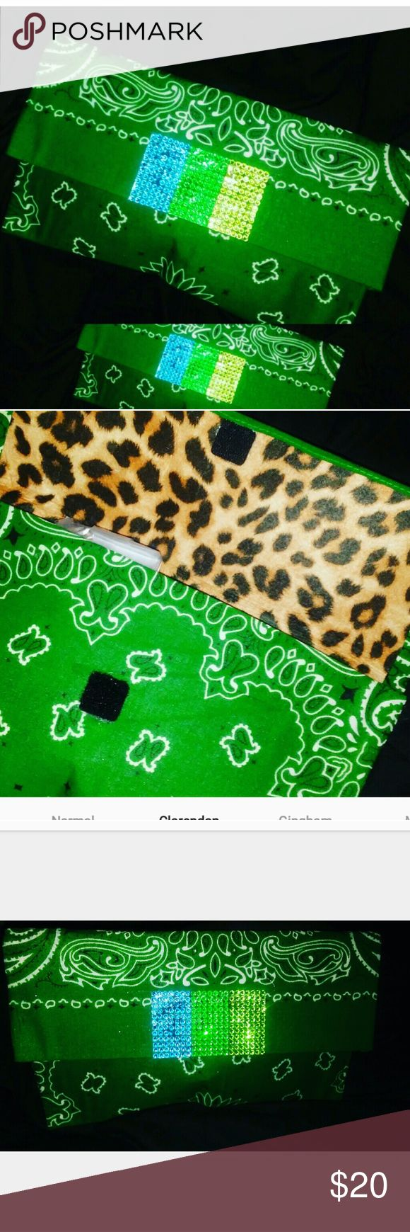 Cj's custom clutch with Rhinestones Handmade by me cute 100% cute green bandana clutch.Only in cjs closet.    Velcro fastner. Leopard print on the inside. Never worn. Brandnew 7'12 Bags Clutches & Wristlets