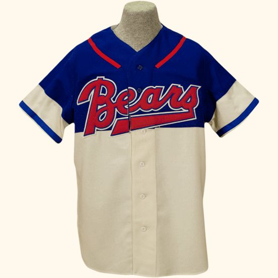 "Denver Bears 1952 Home Jersey  WESTERN LEAGUE Sometimes baseball experiments take root (as in the DH), and sometimes they fail to gain traction. In the latter category was Denver's ""strike zone"" uniform, which made its debut against Omaha in August, 1952. Now, why the Denver management thought making it easier to call strikes against its players was a good thing we don't know. Or perhaps they were responding to the quality of umpiring in the Western League by being helpful."